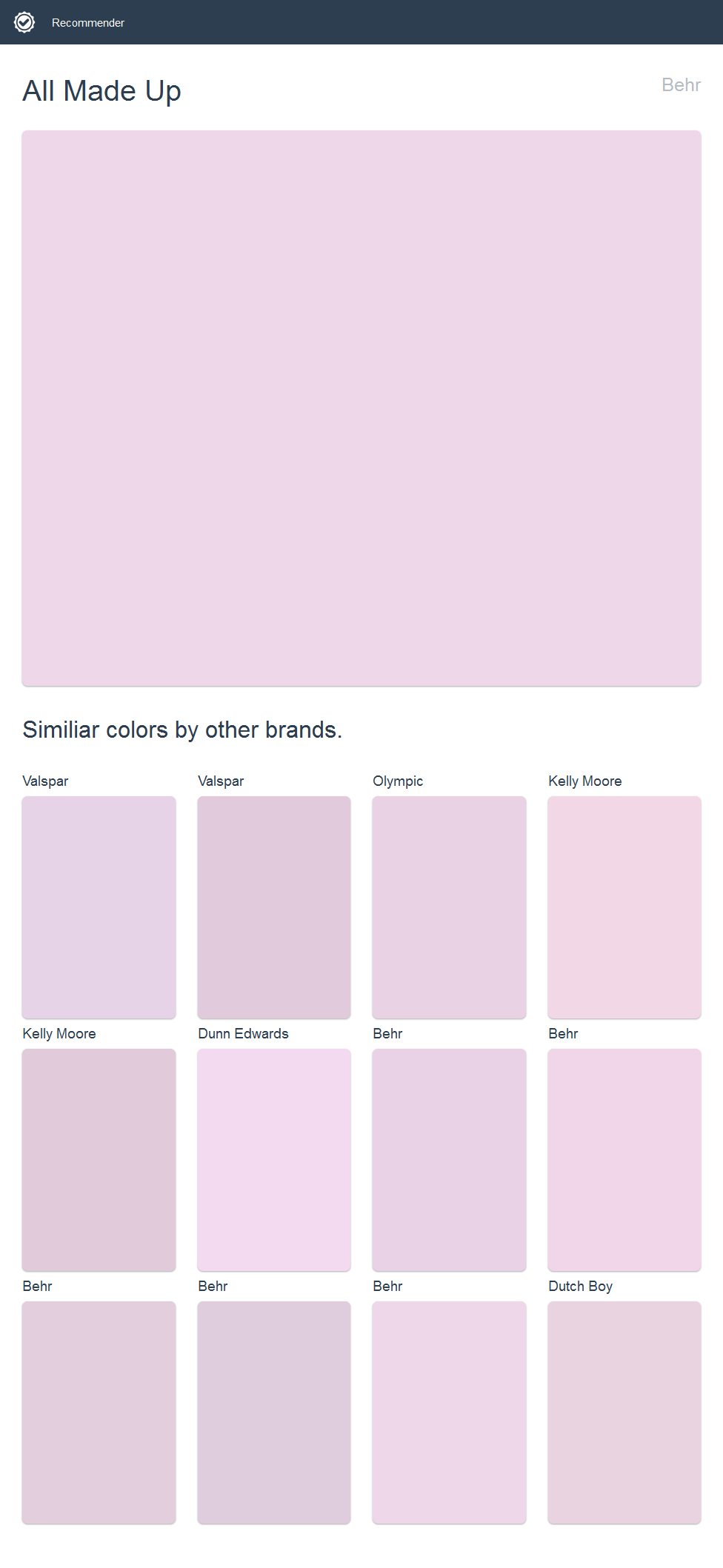 All Made Up, Behr. Click the image to see similiar colors by other ...