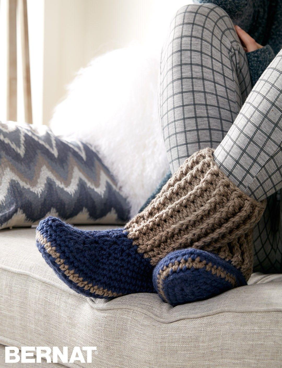 Slipper Socks - FREE Crochet pattern | Yarnspirations | Slippers ...