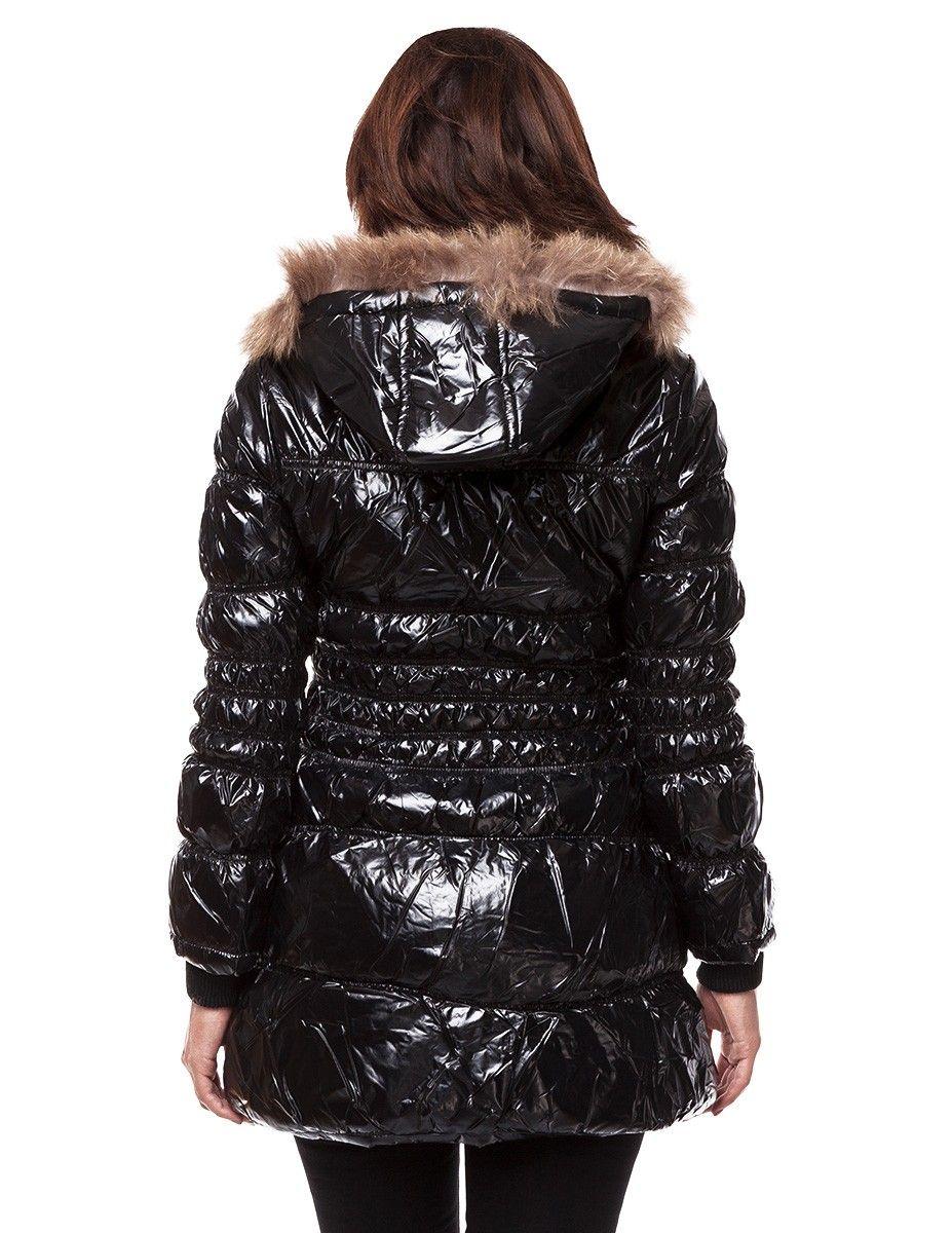 premium selection ddfcf 49013 24brands - Damen Frauen Winter Jacke lang mit Kapuze & Fell ...