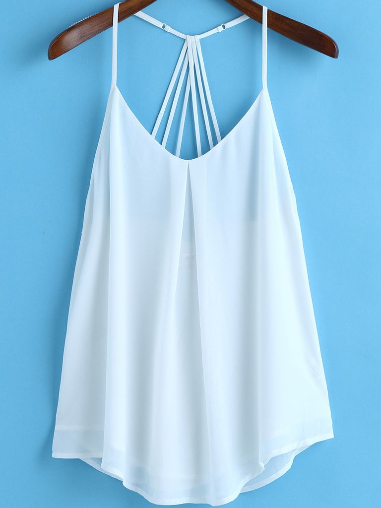 White Spaghetti Strap Loose Chiffon Cami Top Chiffon Cami Tops Fashion Fall Fashion Outfits