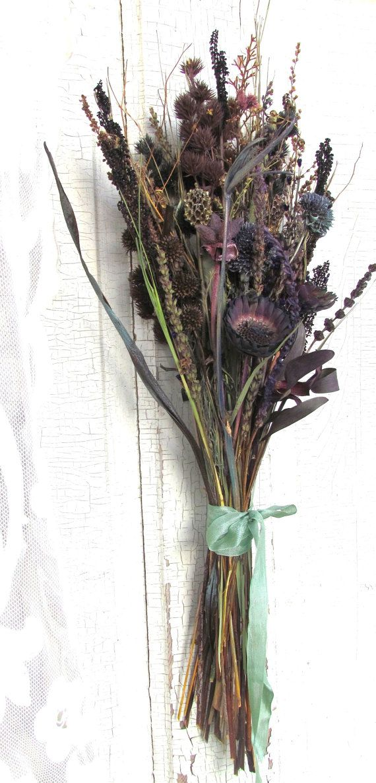 Dried Flower Bouquet Dusty Purple Mauve Lavender Lilly Pod