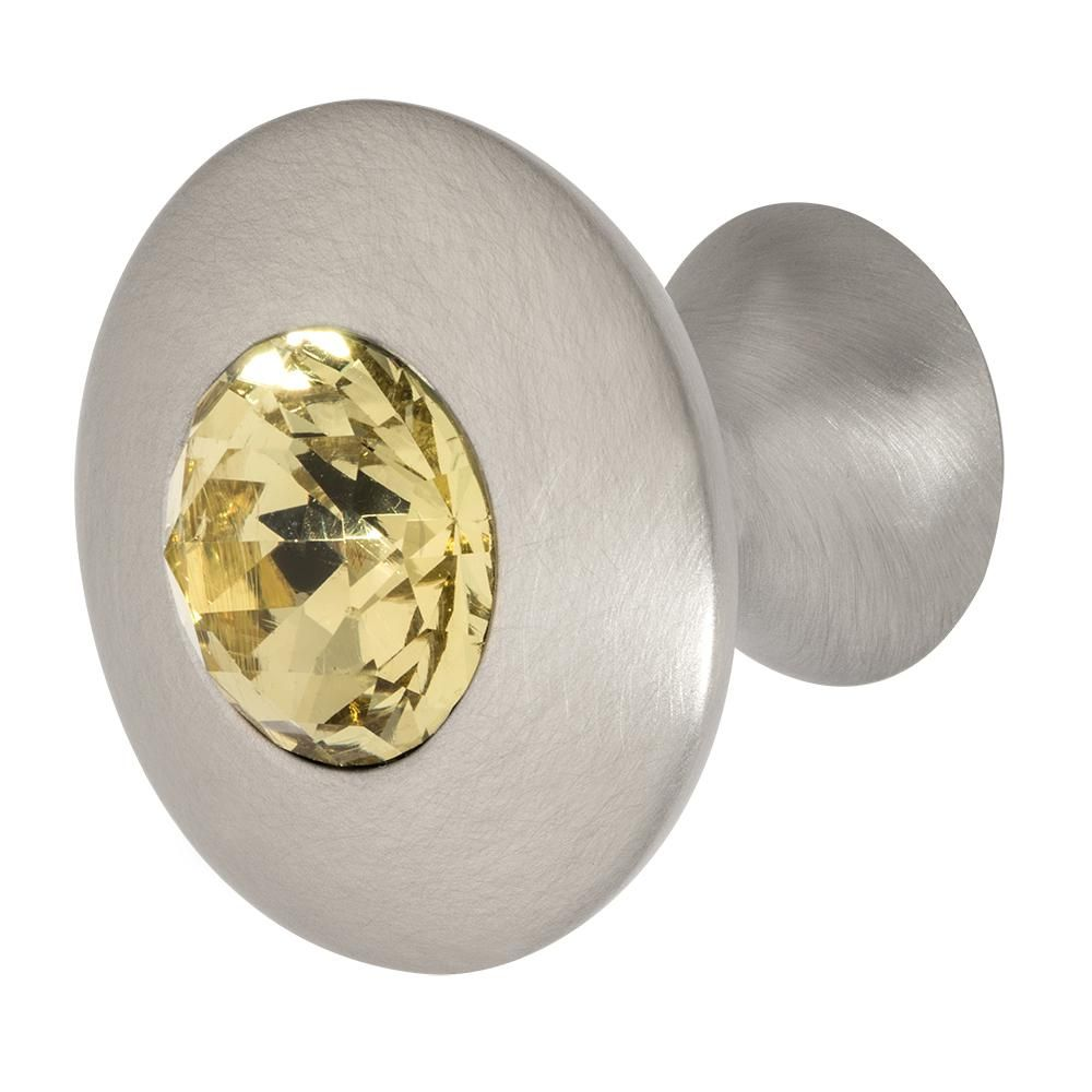 Felicia 1-1/4 in. Satin Nickel with Light Yellow Crystal Cabinet Knob