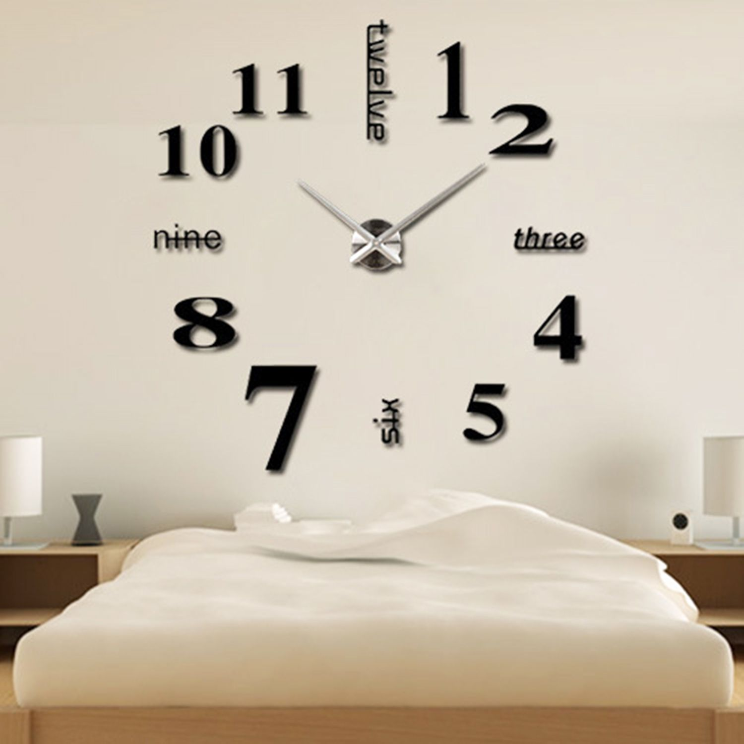 stylist and luxury giant clocks. Alrens DIY TM Luxury Arabic Numerals Digits English Letters Time Large Size  Modern Design Frameless Big Mirror Surface Effect Wall Clock Watches Home Simple Style 3D Sticker for