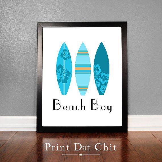 Beach Boy Surf Board Wall Art Printable Art Surf Board Decor