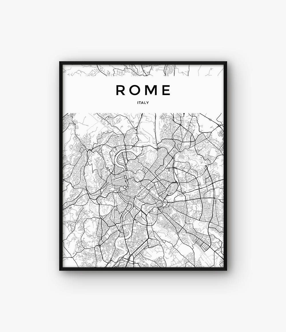 Black And White Map Of Italy.Rome Map Print Rome Print Italy Print Rome Poster Rome Decor