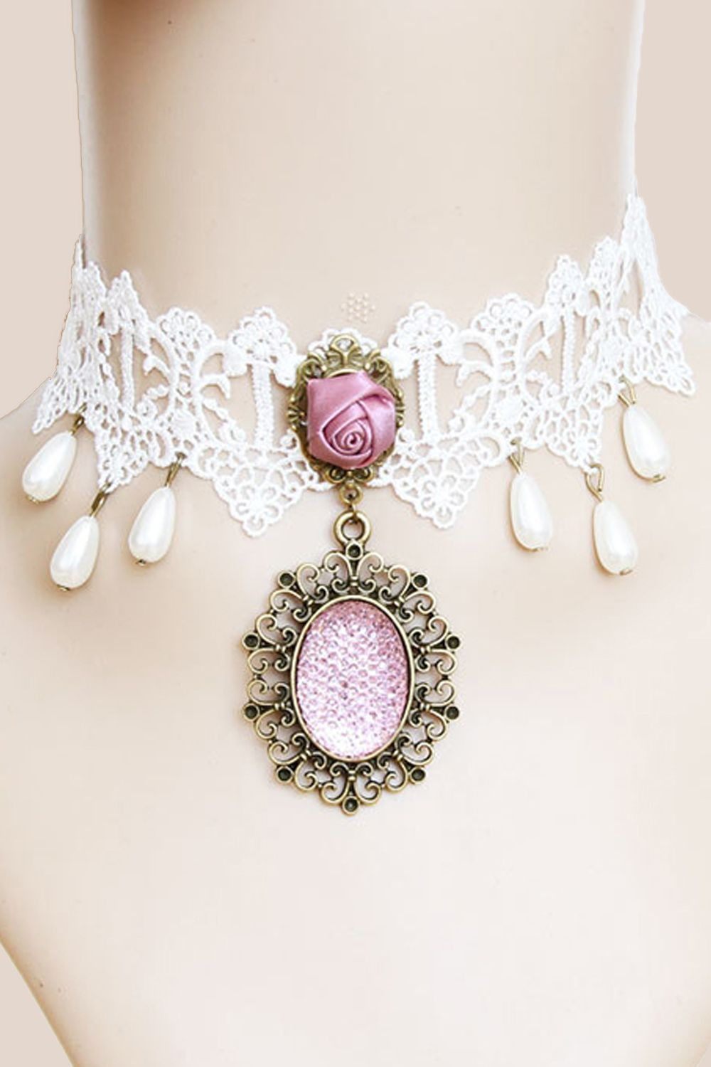 Accessorize your Victorian inspired look with our Atomic White Lace and Pink Rose Choker Necklace with Pendant.   https://atomicjaneclothing.com/products/atomic-white-lace-and-pink-rose-choker-necklace-with-pendant