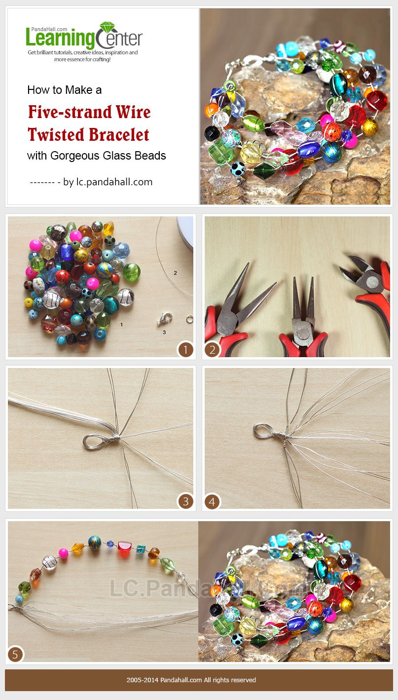 How to Make a Five-strand Wire Twisted Bracelet with Gorgeous Glass ...