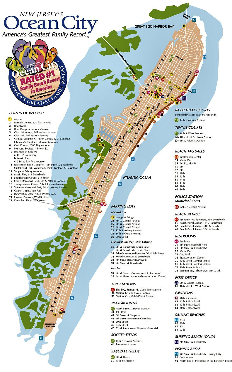 Ocean City NJ Street Map Ocean City NJ Pinterest