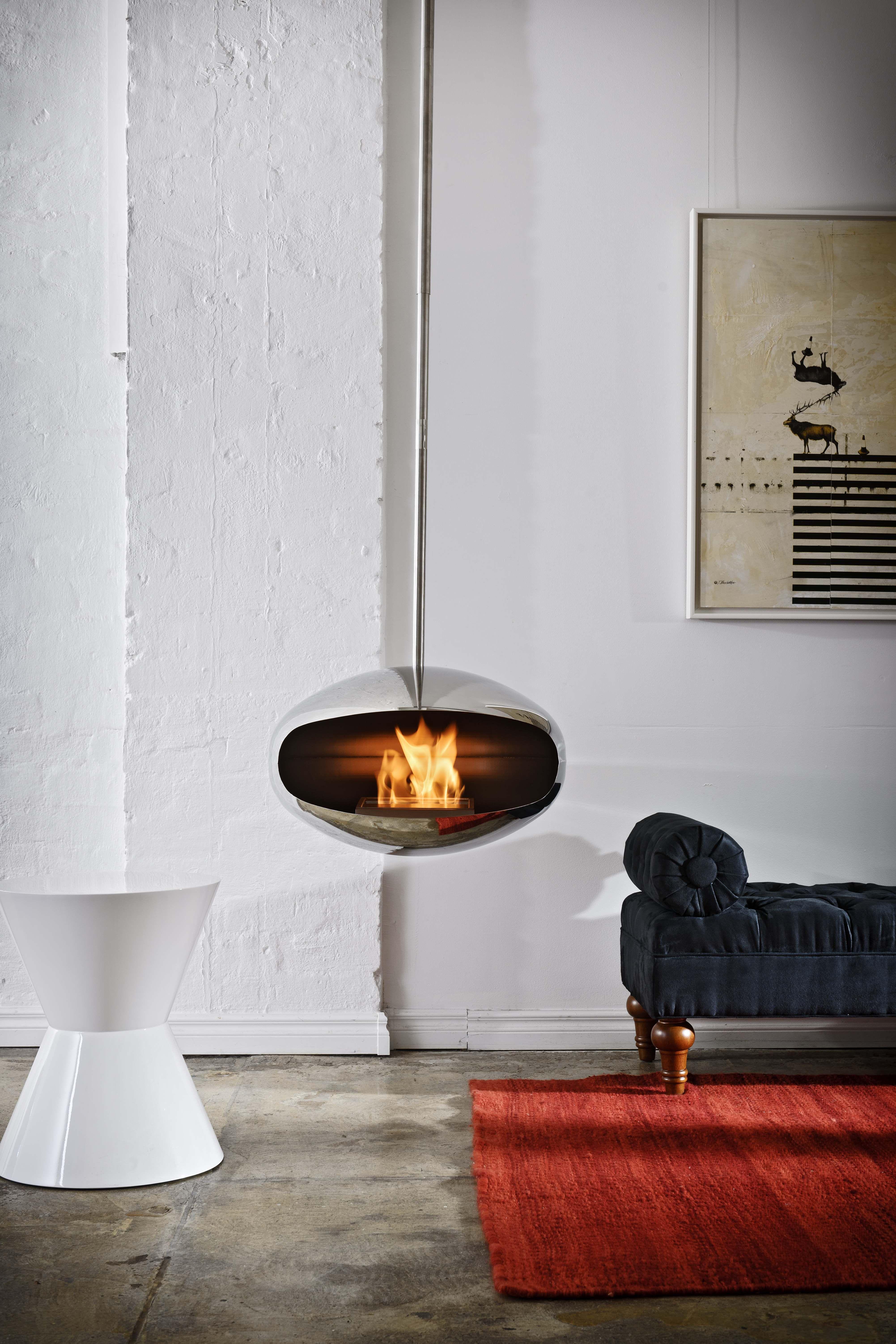 Cocoon aeris biofuel fire hanging fireplace interior