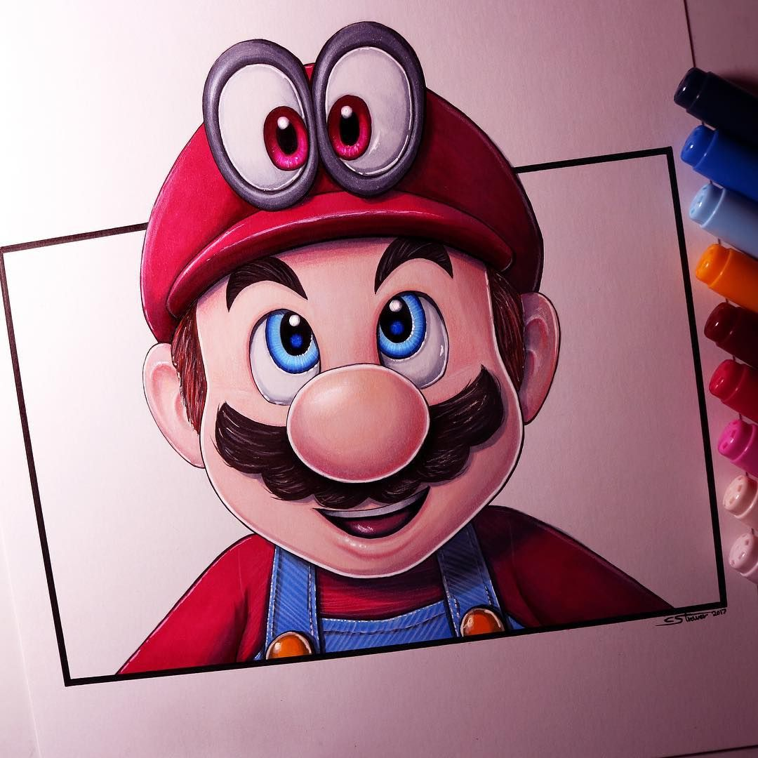 Here S My Drawing Of Mario And Cappy From Super Mario Odyssey The Time Lapse Video Is On My Youtube Prismacolor Art Art Drawings For Kids Canvas Art Projects