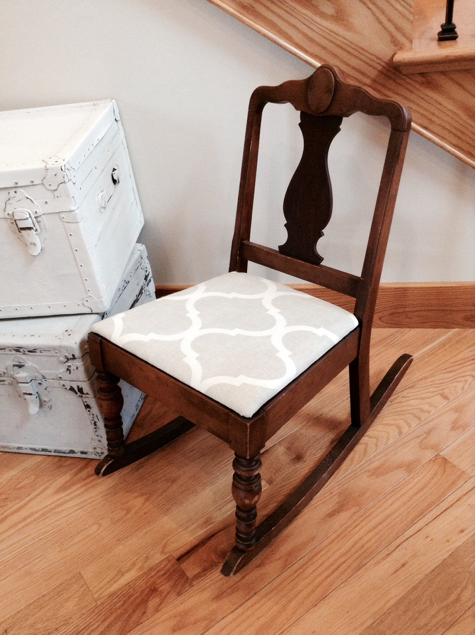 Antique sewing rocking chair - Small Antique Sewing Rocking Chair Rocker Reupholstered In A Tan And White Lattice Print