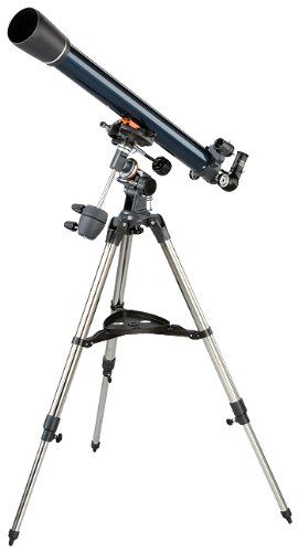Celestron 21062 AstroMaster 70 EQ Refractor Telescope Model Number: 21062. Magnification: 90.