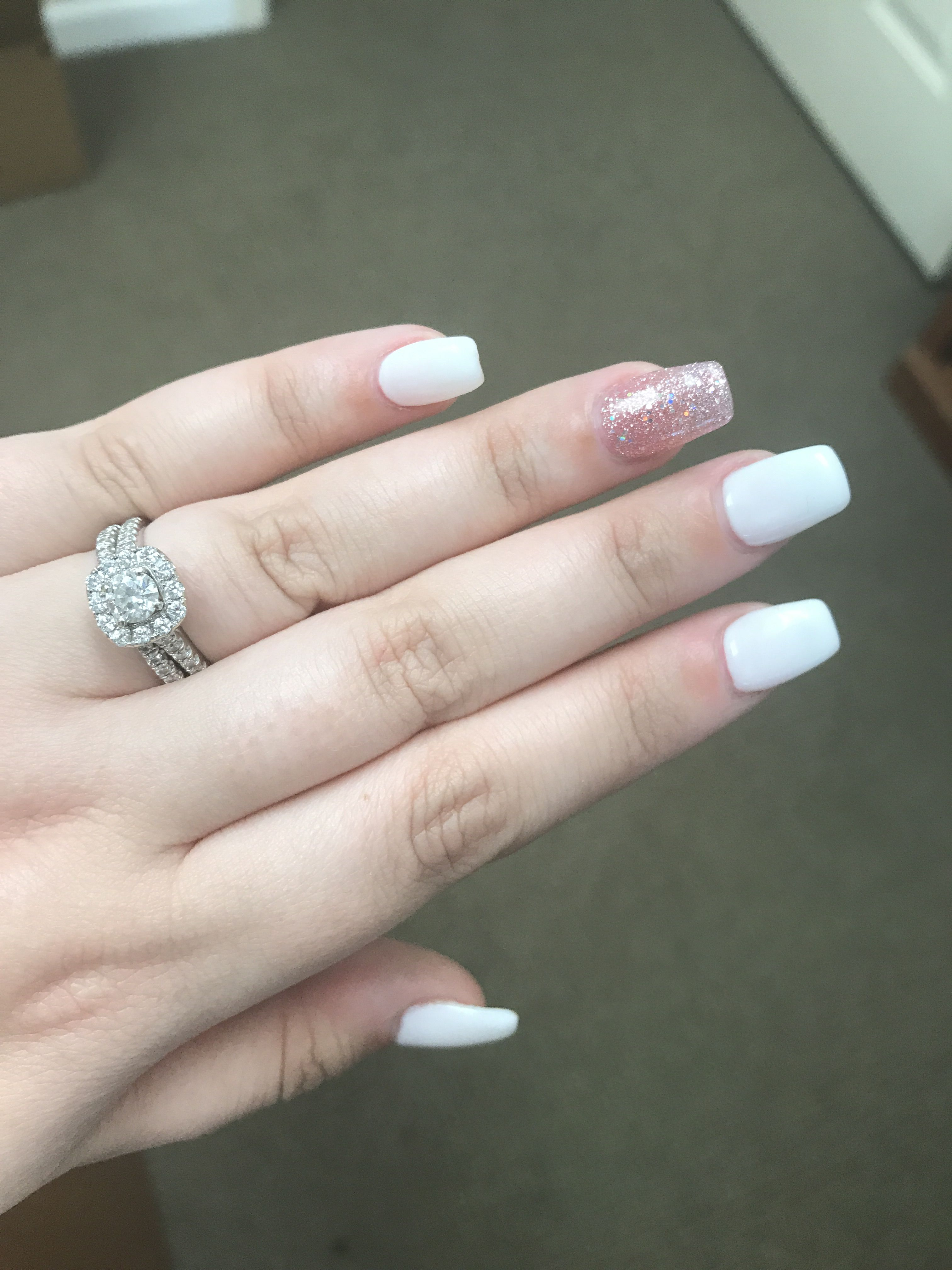 Short Coffin White With Pink Glitter Accent Acrylic And Gel Nails Coffin Shape Nails Pink Acrylic Nails Pink Glitter