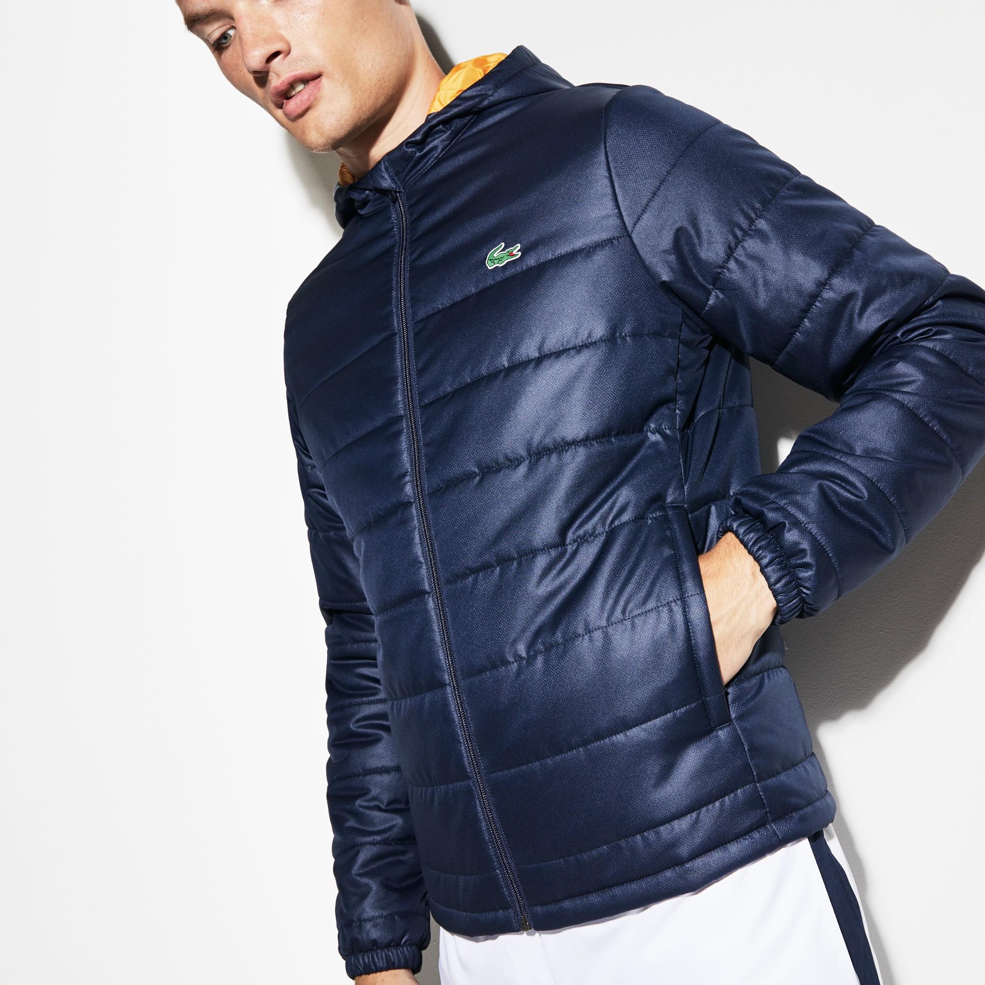 8eed9fe57c Lacoste Men's Sport Hooded Water-Resistant Taffeta Tennis Jacket - Navy  Blue/Pomelo Xxl 7 Green