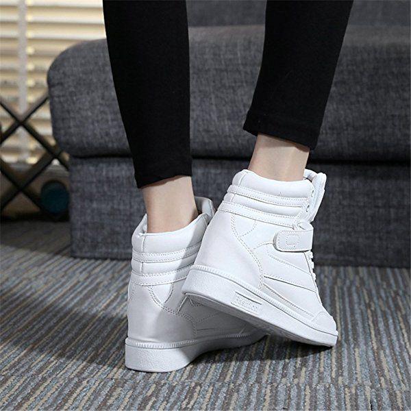 4d164628b UBFEN Zapatillas de Cuña para Mujer Botas Botines Alta Zapatos Deportivos  Elevador Interior Talón Plataforma 7cm