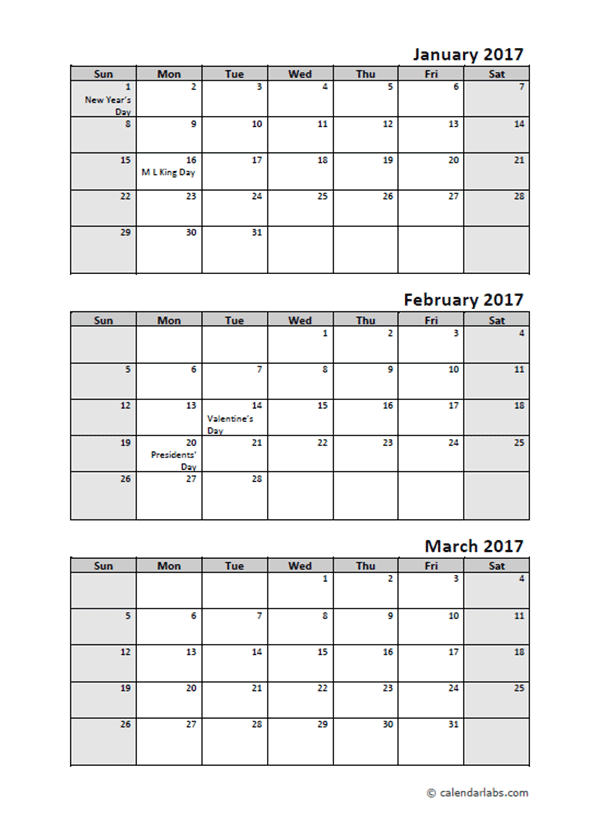 2017 Quarterly Calendar With Holidays | Calendars ...
