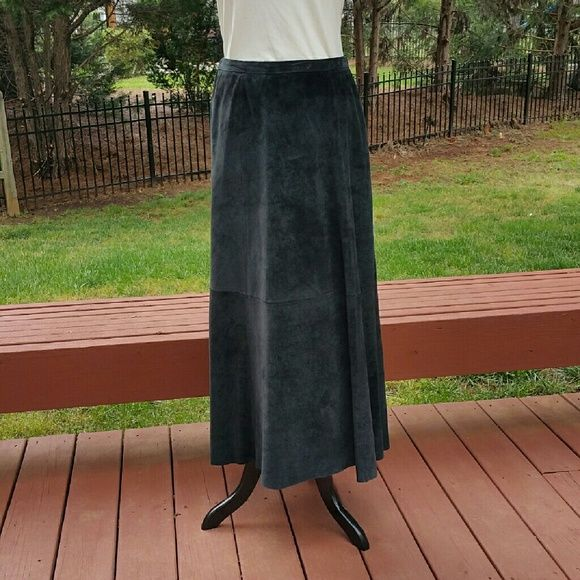Beautiful black suede skirt Beautiful black Chico's long skirt. Waistband has some elastic in two places. Zipper and small button. Excellent condition.  Chico's size 1 Chico's Skirts Maxi