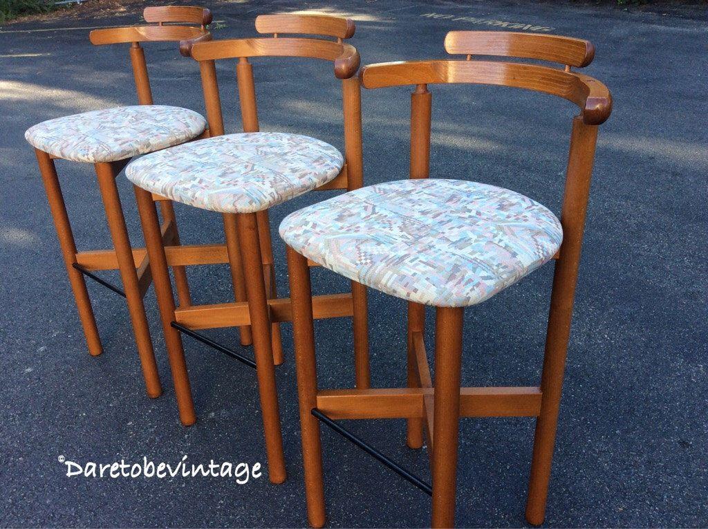 Three Mid Century Modern Danish Teak Bar Stools - Mid Century ...