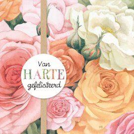 gefeliciteerd kaart bloemen