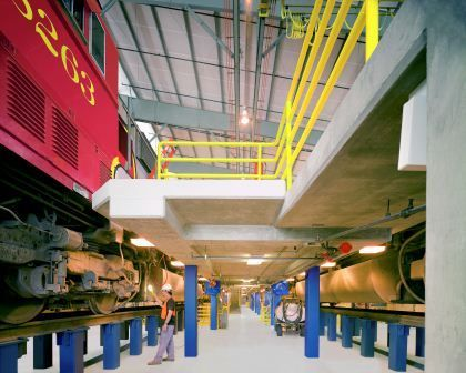 Burlington Northern Santa Fe Railroad CO, Commerce, CA. Locomotive Maintenance Facility built to maintain BNSF's fleet of new locomotives.