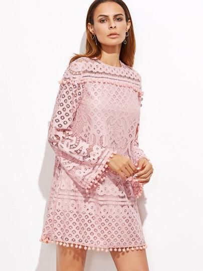 eef3f8fe7105 pink lace homecoming dress, pink prom dress, pink formal dress, long sleeve  bell sleeve pink dress - Lyfie