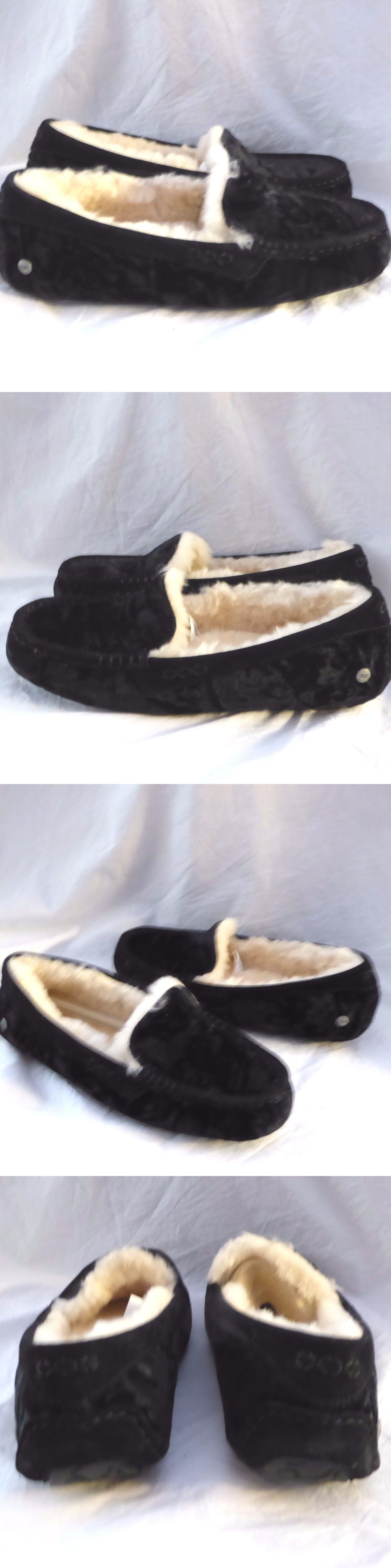 ed645874b1e Slippers 11632: Ugg Ansley Black Crushed Velvet Sheepskin Moccasin ...