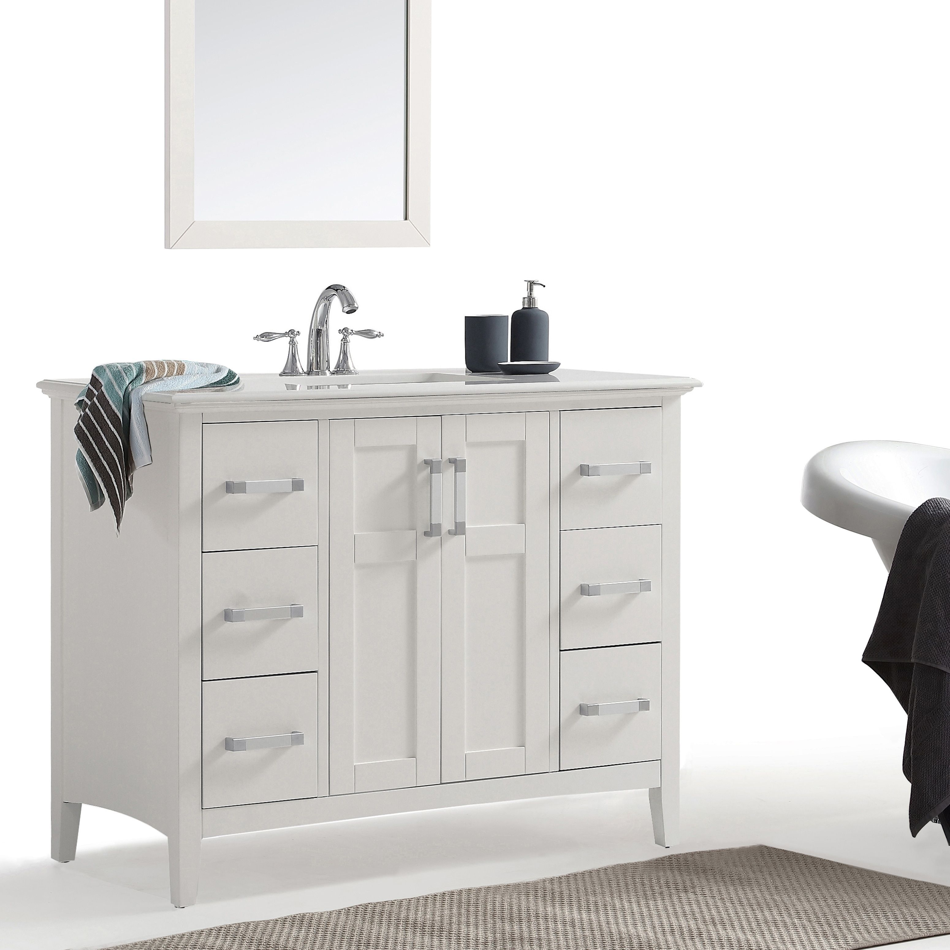 Incredible Salem 42 Inch Bath Vanity In Soft White With Bombay White Home Interior And Landscaping Mentranervesignezvosmurscom