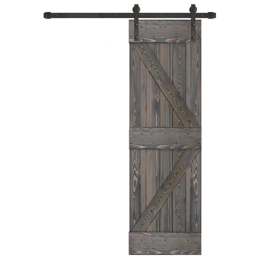 Creative Entryways Sliding Charcoal Stained K Frame Wood Pine Barn Door Hardware Included Common 24 In X 80 In Actual In 2020 Barn Door Hardware Barnwood Doors Types Of Doors