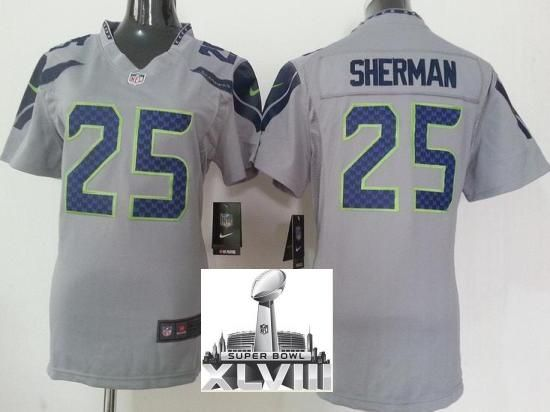 ... Elite) Women Nike Seattle Seahawks 25 Richard Sherman Grey 2014 Super  Bowl XLVIII NFL Jerseys ... 45bfe9759