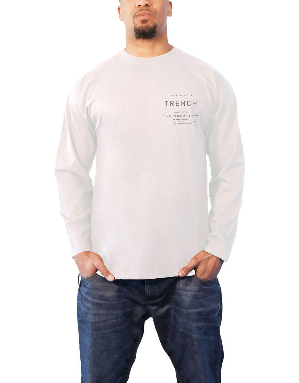 e961e2bcd Twenty One Pilots T Shirt Trench Rose Band Logo Mens White Long Sleeve - Paradiso  Clothing