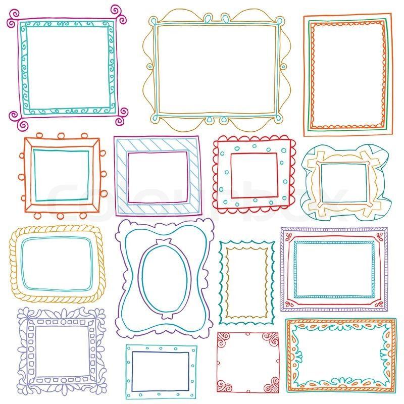 stock vektor von 39 vintage bilderrahmen set doodle stil. Black Bedroom Furniture Sets. Home Design Ideas