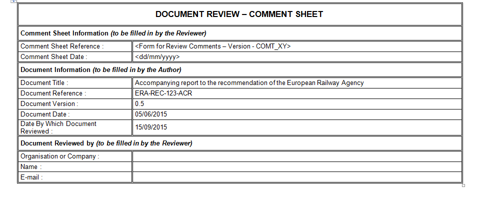 Document Review Form Download For Project Management Plan Template
