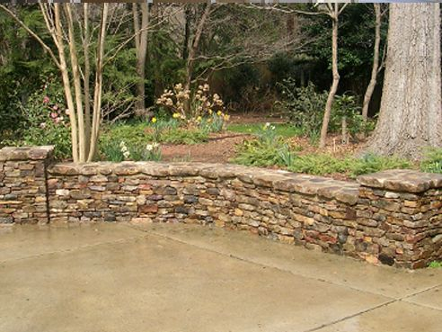 Stacked Stone Wall With Columns Patio Landscaping Stacked Stone Walls Hardscape