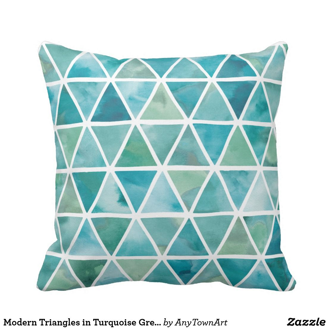 Modern triangles in turquoise green throw pillow in pillow