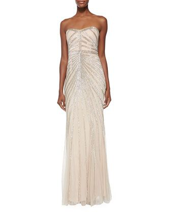 55c5ca441aa Blair Strapless Beaded-Pattern Gown by Rachel Gilbert at Neiman Marcus.  love this one!!