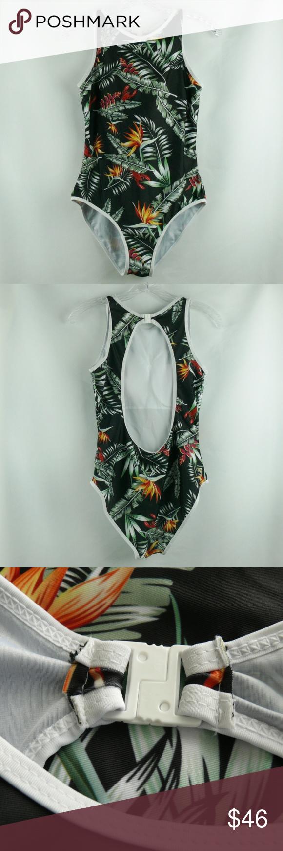 a56413afd507 Tropical Black One Piece Bathing Suit Cut Out Back