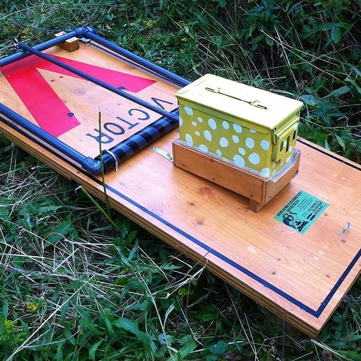 Giant mouse trap geocache. Telling lucky? roc Rochester
