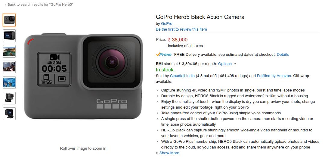 Gopro Hero 5 Black And Hero5 Session Now In Stock On Amazon India Gopro Gopro Hero 5 Amazon