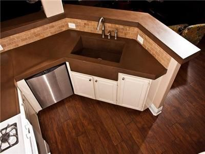 Concrete Kitchen Countertops With Sink Brown Countertop And
