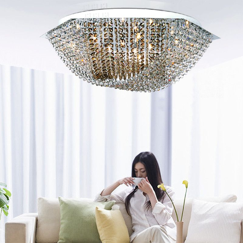 Novelty Post Modern Diamond Crystal Ceiling Lights For Dining Room Bar Cafe Large Clear Champagne