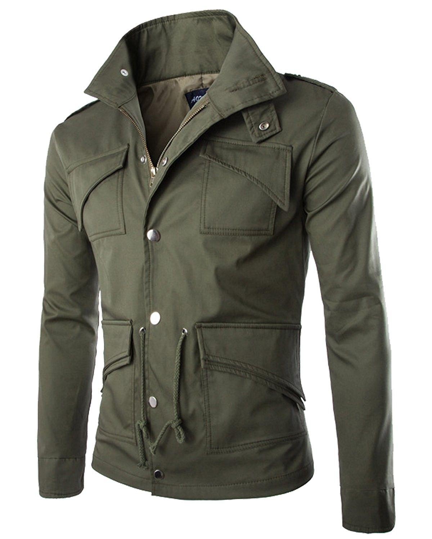 Men S Lightweight Cotton Windbreaker Zip Button Jacket Casual Military Coat Army Green Ck189iwntk0 Mens Jackets Drawstring Jacket Casual Jacket [ 1500 x 1200 Pixel ]
