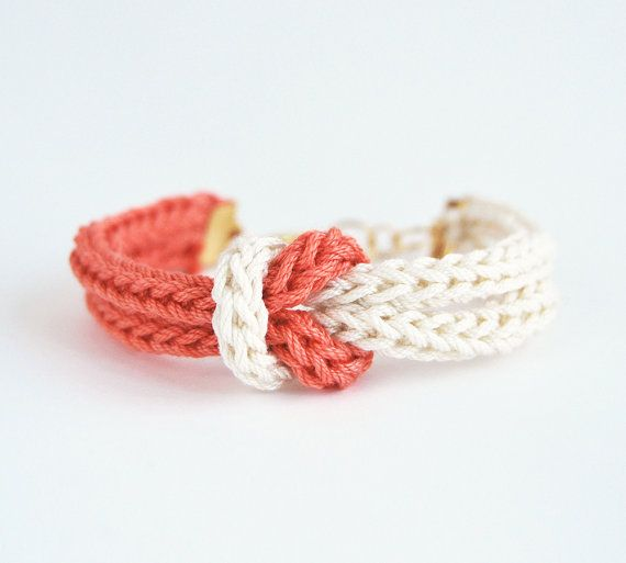 Finger Knitting Starting Knot : Coral bracelet knot knit in salmon