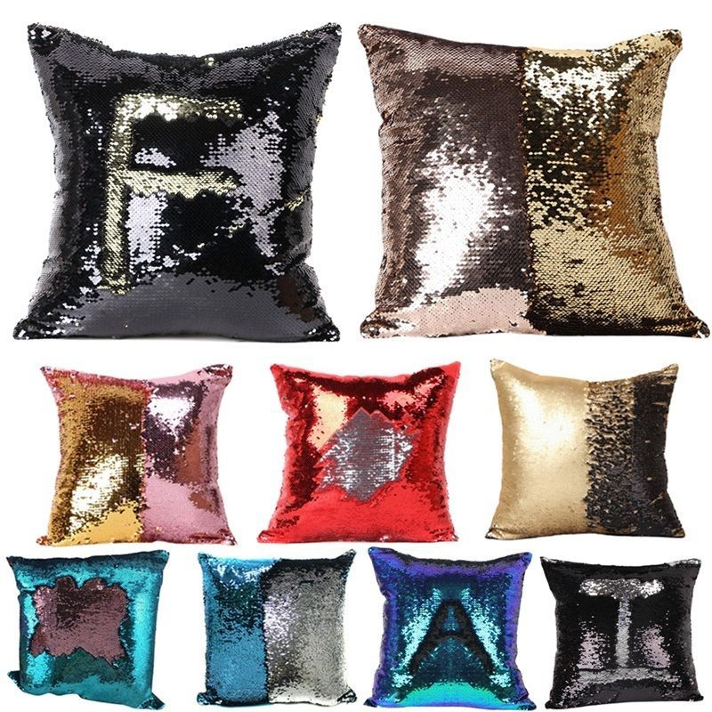 Reversible Sequin Mermaid Glitter Sofa Cushion Cover Pillow Case