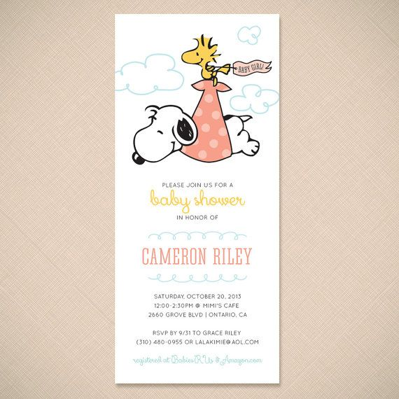 Snoopy and woodstock stork cute baby shower invitation by ohmymia snoopy and woodstock stork cute baby shower invitation by ohmymia filmwisefo