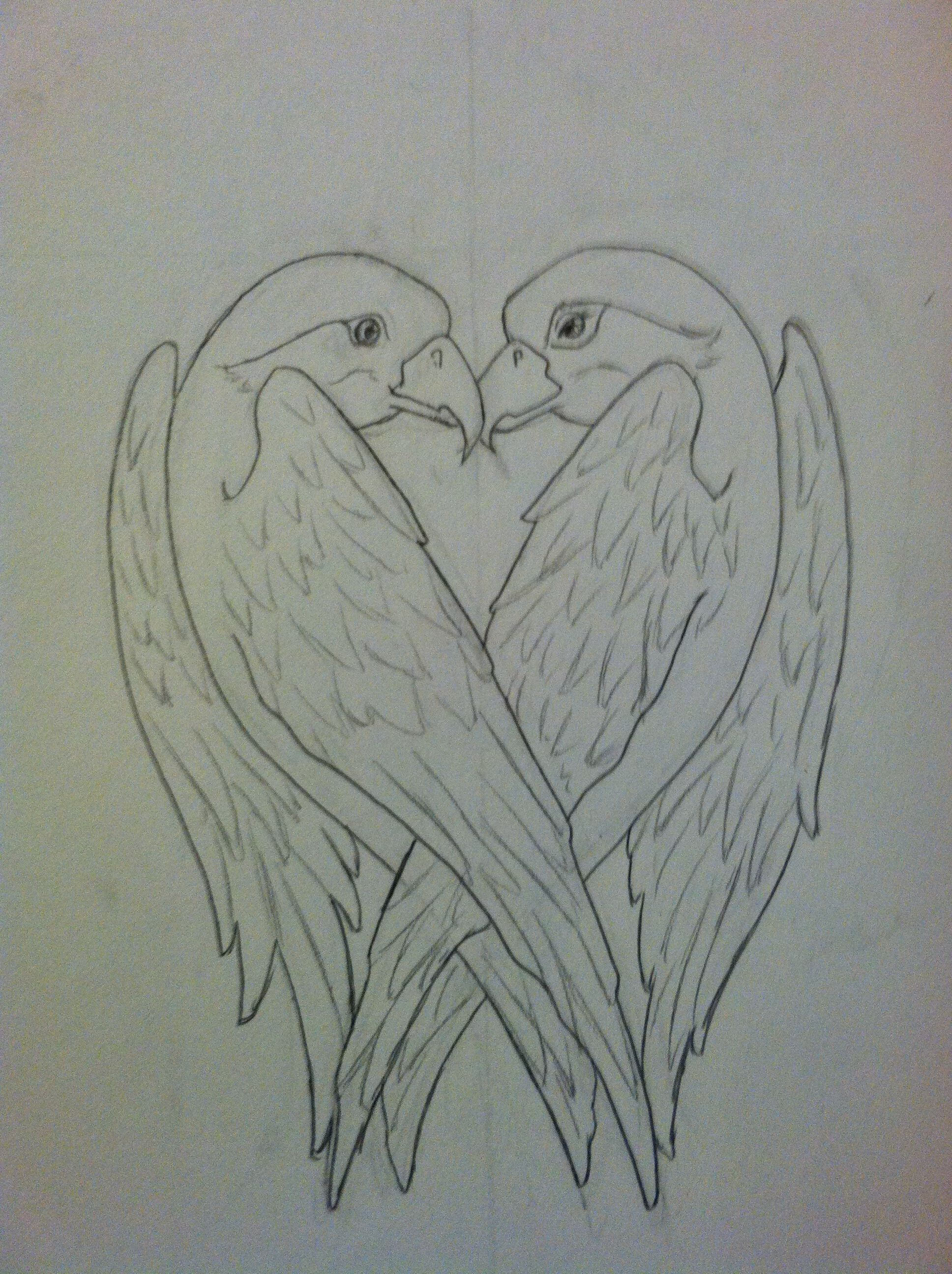 A Bird Heart Tattoo Design With The Two Birds Forming A Shape Of A Heart I Still Need To Ink And Scan It Birds Tattoo Heart Drawing Heart Tattoo