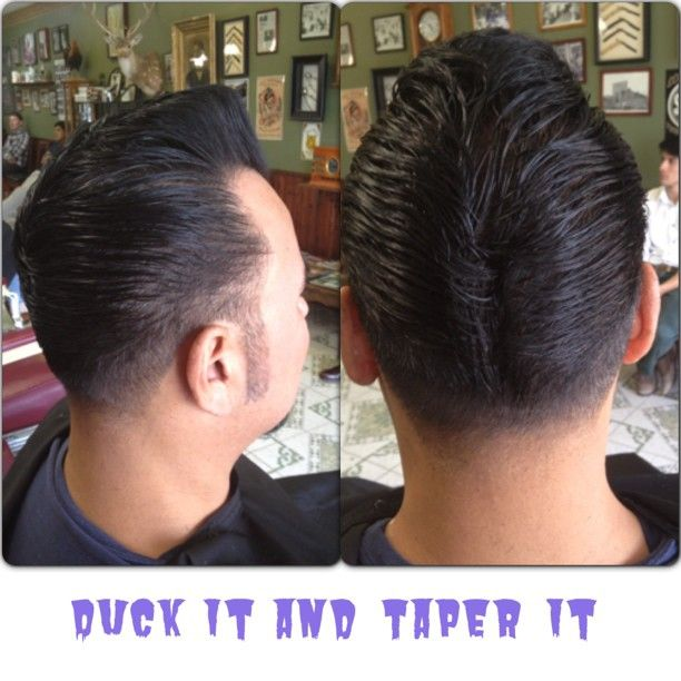 Ducktails and taper on Tom. #christhebarber #chrisfink  #sanantonio  pompadour  #lovethybarber