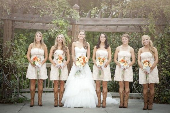 Bridesmaids Wore Cowboy Boots With Their Soft Pink Strapless Dresses