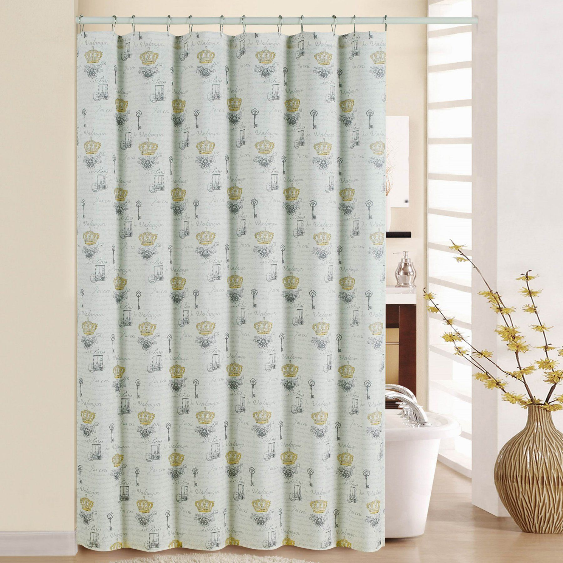 Waverly Paris Notebook Shower Curtain With Rings Curtains With
