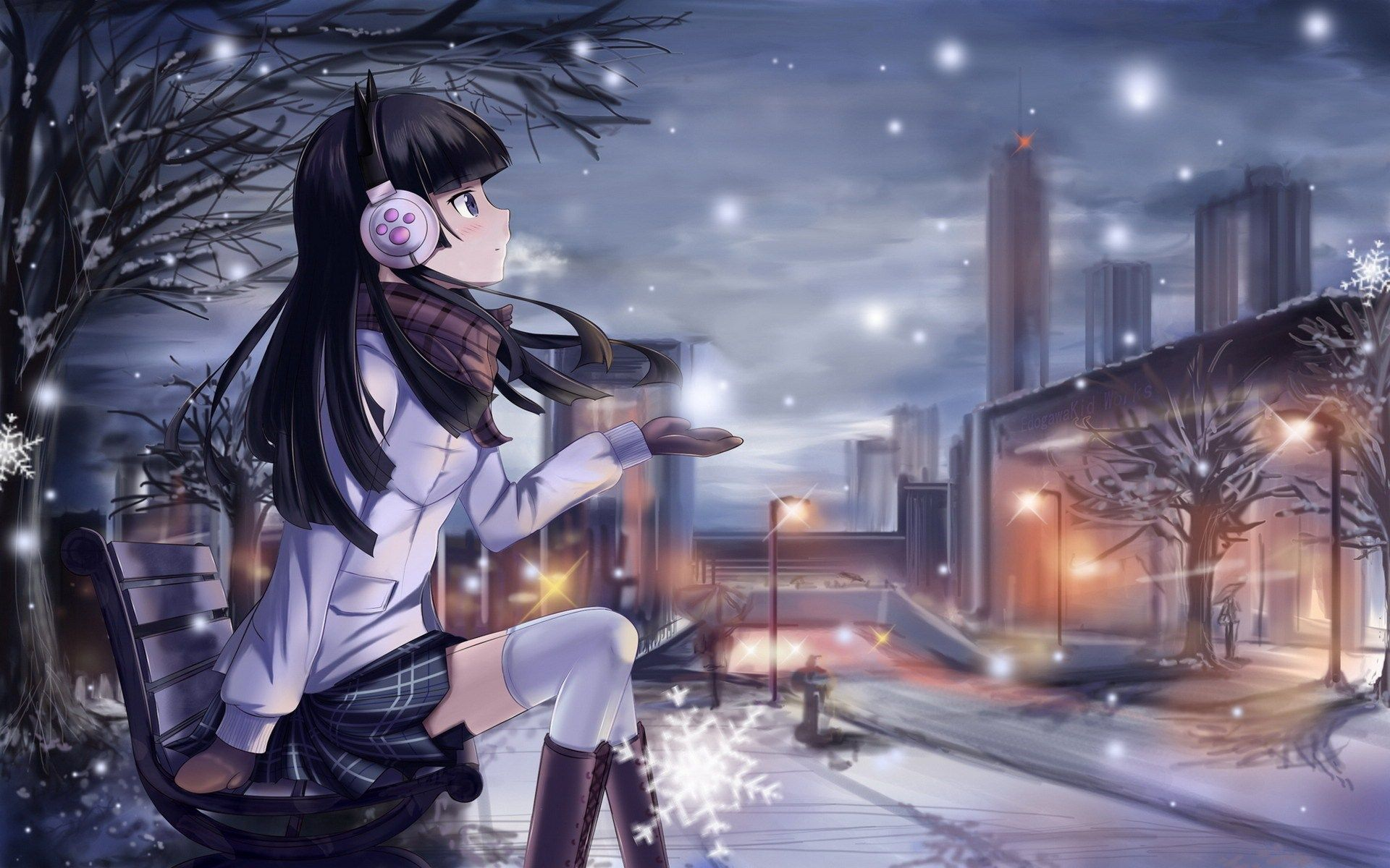 Winter Anime Girl Wallpaper: Beautiful Winter Anime Pictures