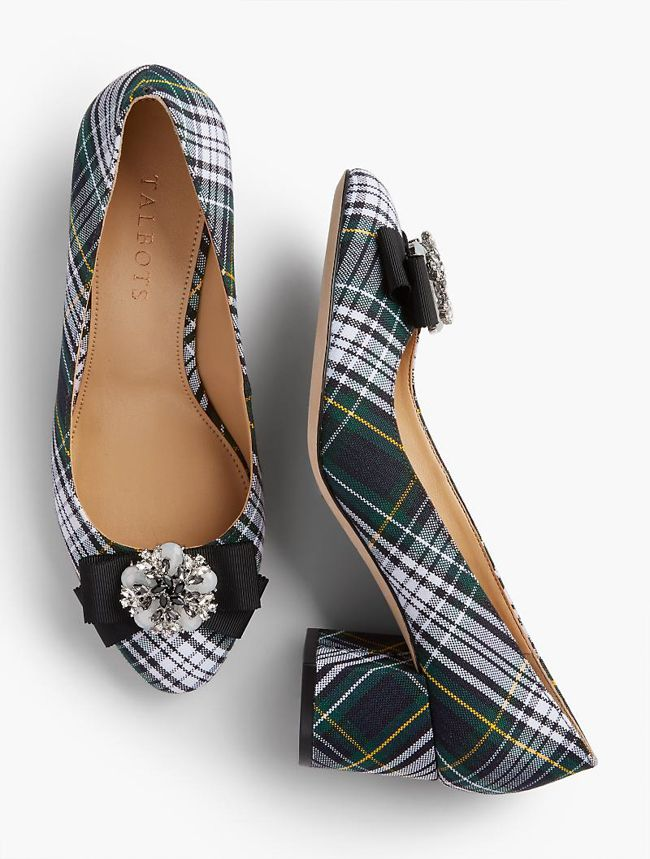 Plaid Bow Block Heel Pumps free shipping 100% authentic order sale online cheap sale sneakernews XXPDuIW6w